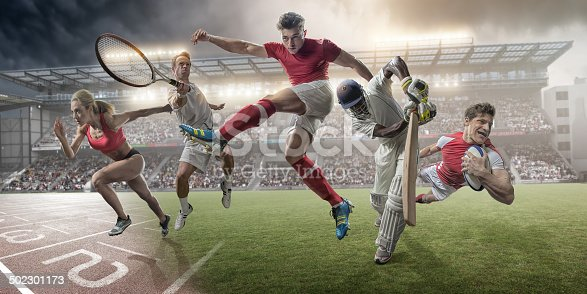 A composite image of five sporting athletes in mid action – female athlete sprinting, males tennis player in mid air swing, football player jumping mid mid air kick, cricket batsman in mid stroke, rugby player holding rugby ball and diving. Background are generic floodlit arenas and stadium appropriate to each sport.