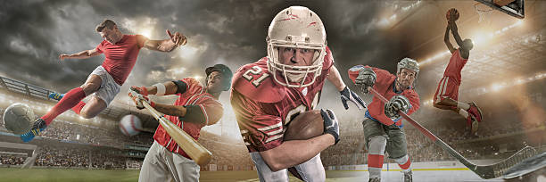 Sports Heroes Composite image of five male athletes in action – soccer player in mid air kicking ball, baseball player swinging bat to hit ball, American football player holding ball and running towards camera, ice hockey player hitting puck and basketball player about to reverse slam dunk. Backgrounds are appropriate stadiums and arenas.  baseball sport stock pictures, royalty-free photos & images