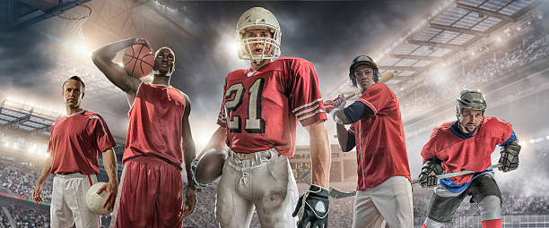 Sports Heroes Composite portrait image of five male sporting athletes – soccer player holding football, basketball player holding basketball, American football player holding ball, baseball player holding bat and ice hockey player holding stick. Backgrounds are generic floodlit stadiums and arenas appropriate to each sport. All players are wearing generic unbranded sports strip.  baseball sport stock pictures, royalty-free photos & images