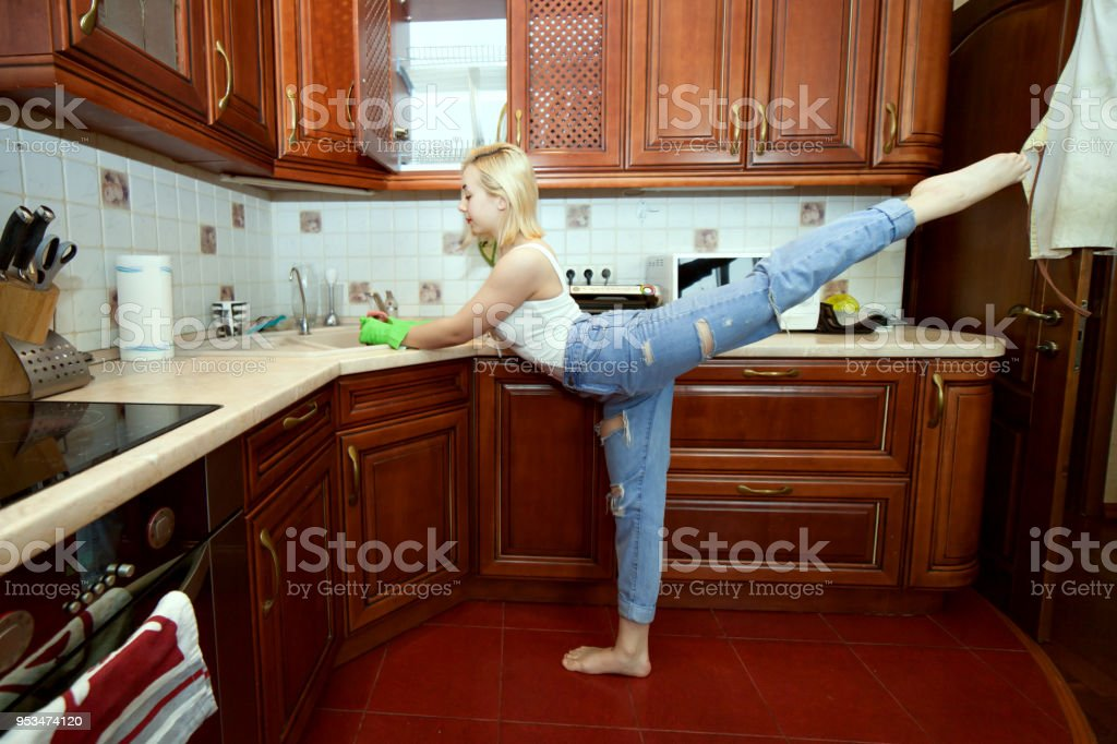 Sports in the kitchen. stock photo