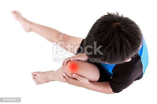 Sports injure. Top view of asian child cyclist injured at knee. Boy sitting and looking at bruise, isolated on white background. Human health care and problem concept. Studio shot.