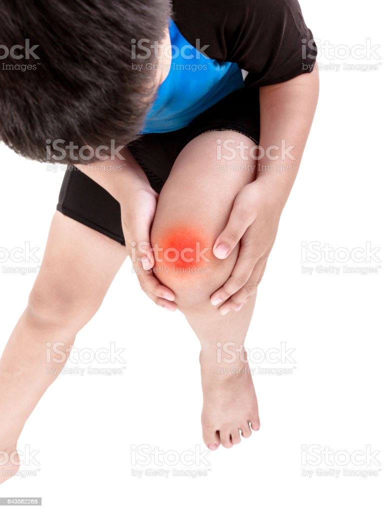Sports injure. Asian child cyclist injured at knee. Isolated on white. stock photo