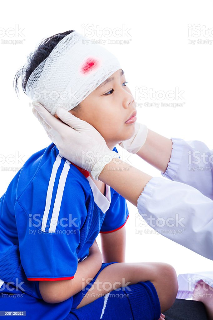 Sports Injury Doctor Makes Bandage On Head Patient On White Stock