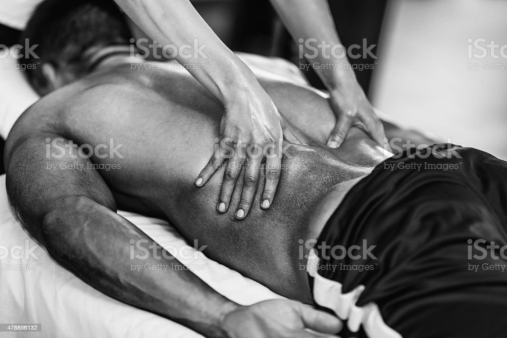 Sports massage - Lower back stock photo