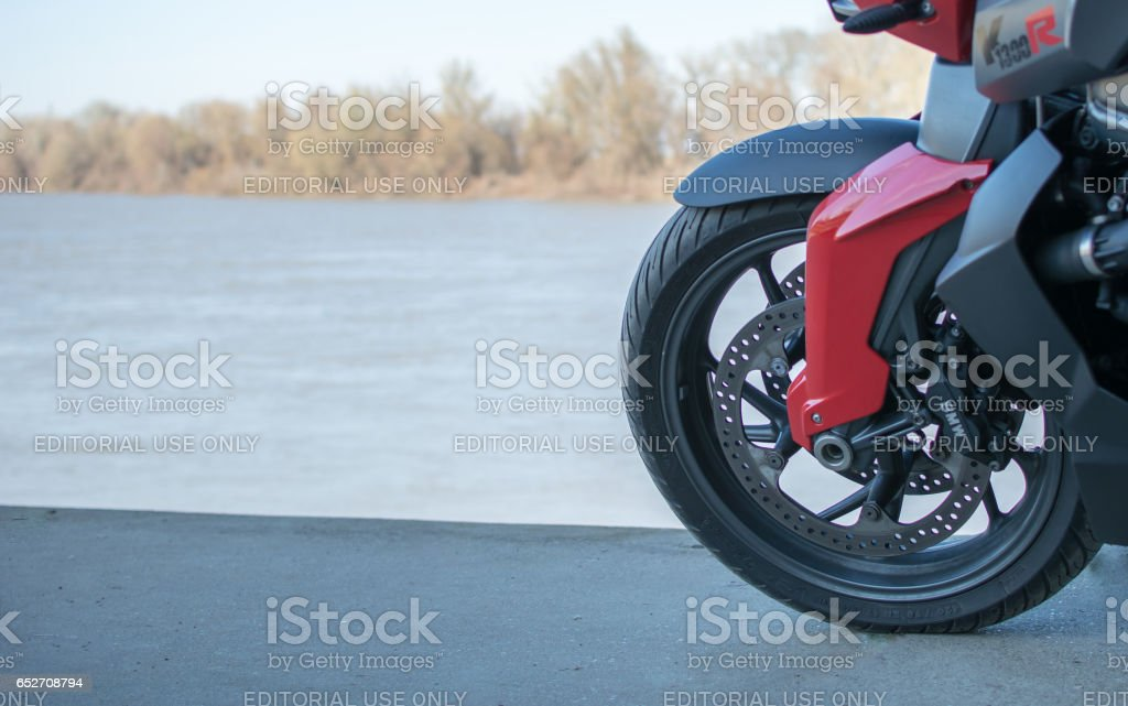 BMW sports Motorcycle photographed outdoors stock photo