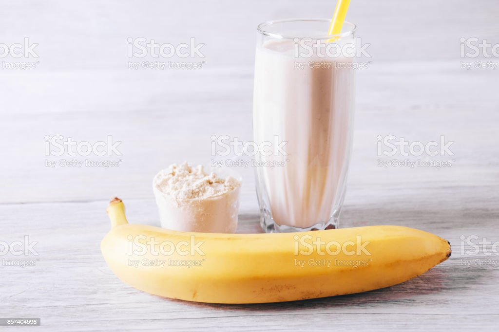 Sports nutrition with protein and banana stock photo