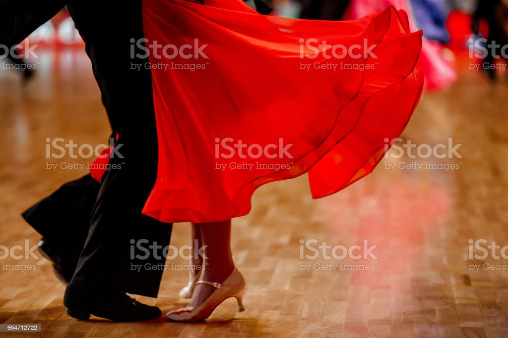 sports pair dancers standard dance competition stock photo