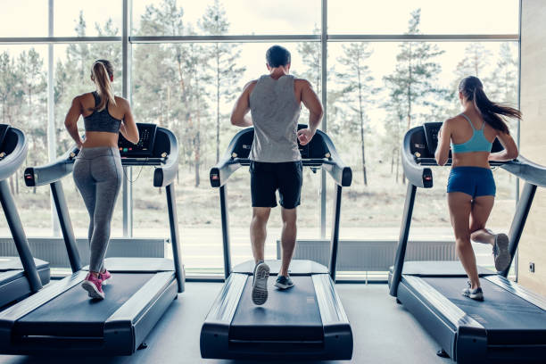 Sports people in gym. Back view of sports people on running track. Two attractive young women and handsome muscular man are running in gym. Treadmills. treadmill stock pictures, royalty-free photos & images