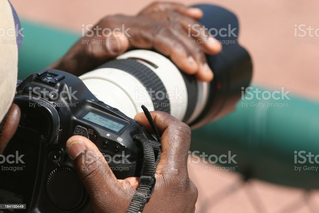 Sports photographer stock photo