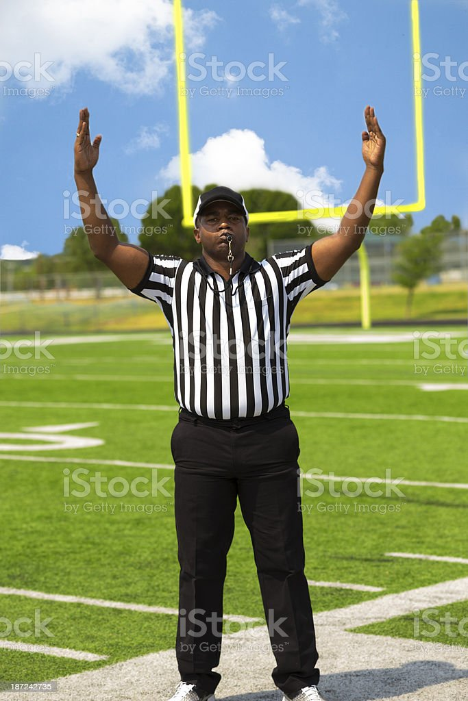 Sports:  Referee calls a touchdown on football field stock photo