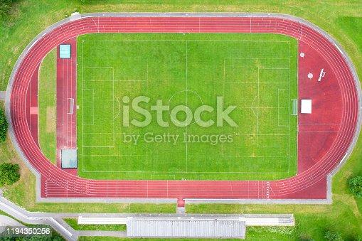 Aerial view of sports stadium.