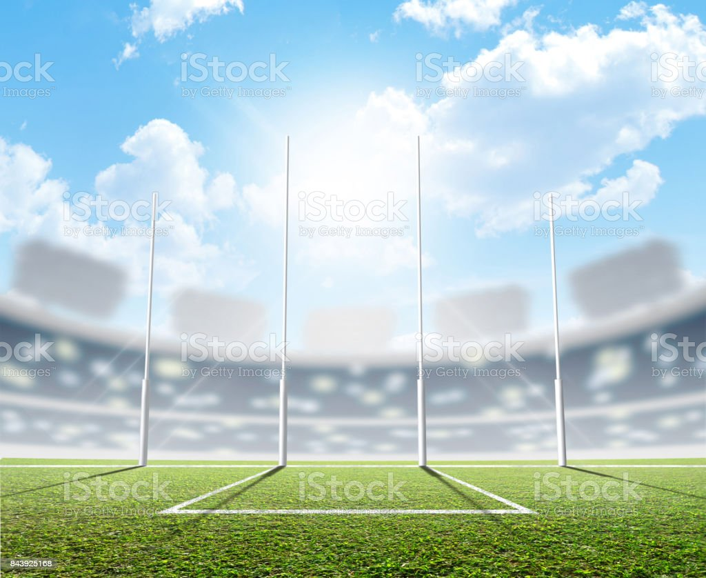 Sports Stadium And Goal Posts stock photo