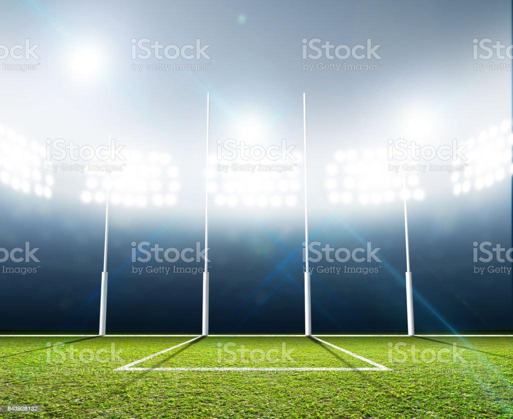 Estadio deportivo y los postes de meta - foto de stock