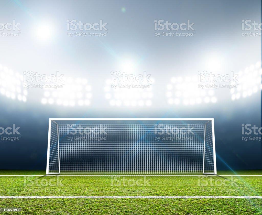 Sports Stadium And Soccer Goals stock photo