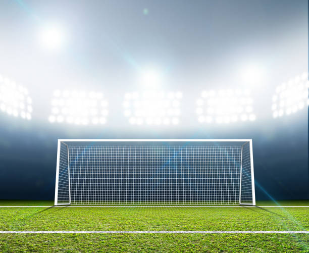 sports stadium and soccer goals - soccer field stock photos and pictures