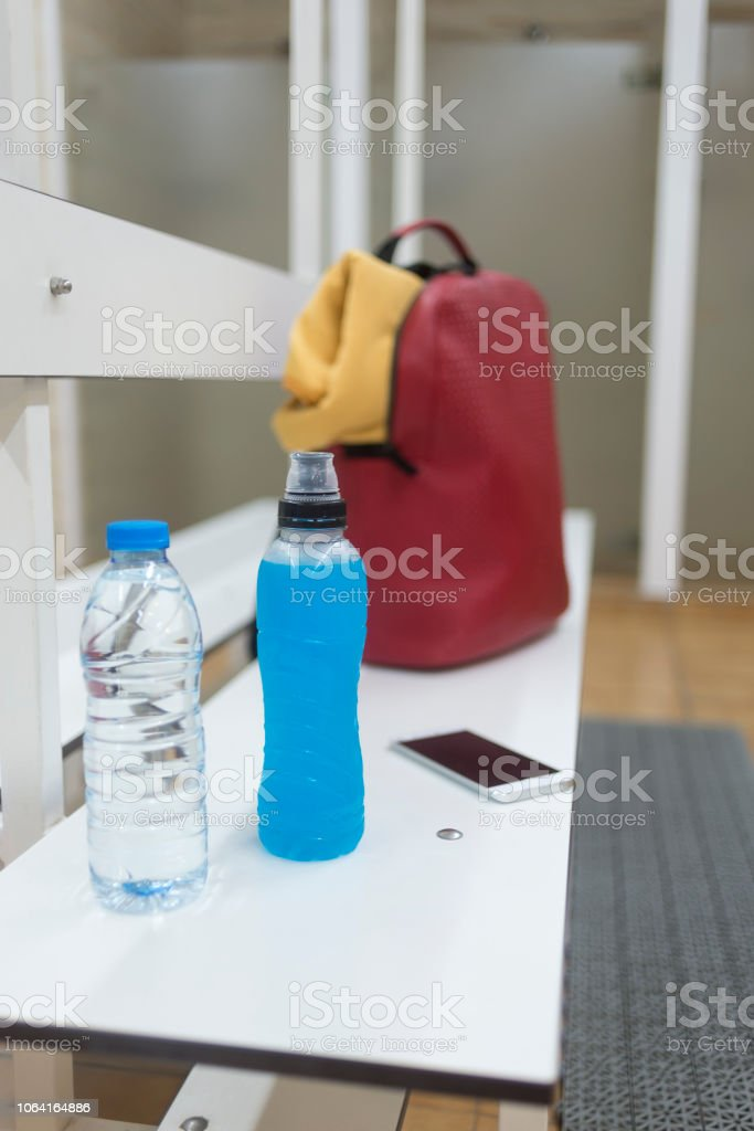Remarkable Sports Supplies On A Wooden Bench In A Gym Locker Room Stock Machost Co Dining Chair Design Ideas Machostcouk