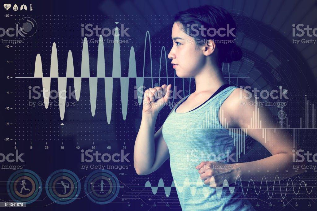 conceito de tecnologia de esportes. mulher correndo e vários gráficos abstratos tecnológicos. ciência do esporte. foto de stock royalty-free