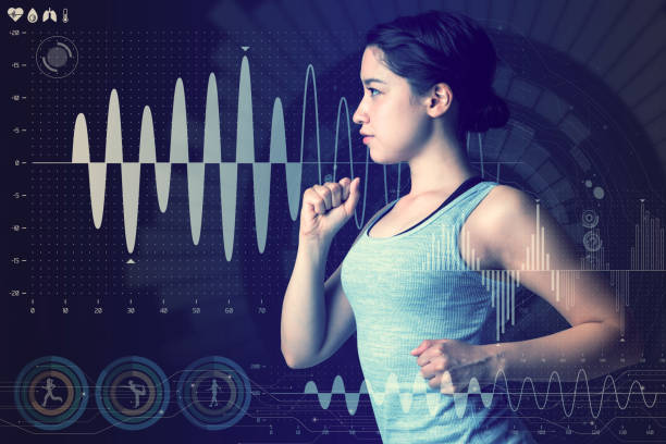 sports technology concept. running woman and various technological abstract graphics. sport science. - composition stock pictures, royalty-free photos & images