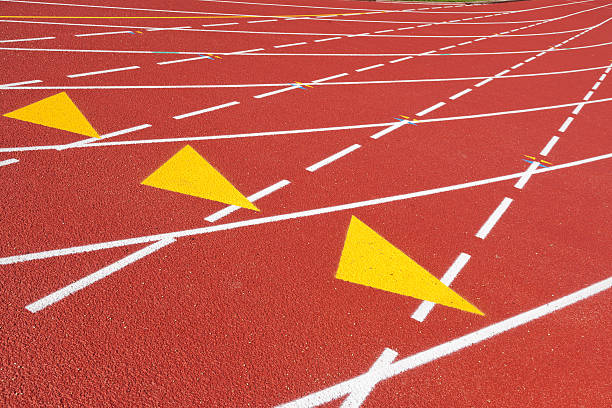 sports track with marked lanes - dotted line stock photos and pictures