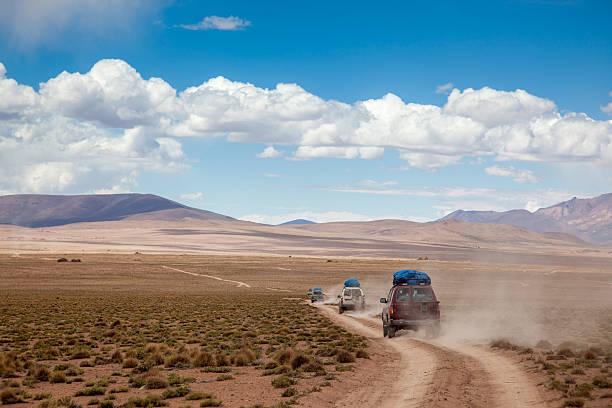 Sports Utility Vehicle Drinving in the Bolivian Altiplano stock photo