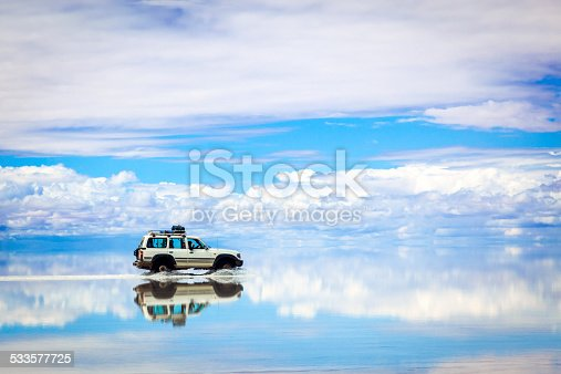 Old 4x4 in the Salar de Uyuni, Bolivia