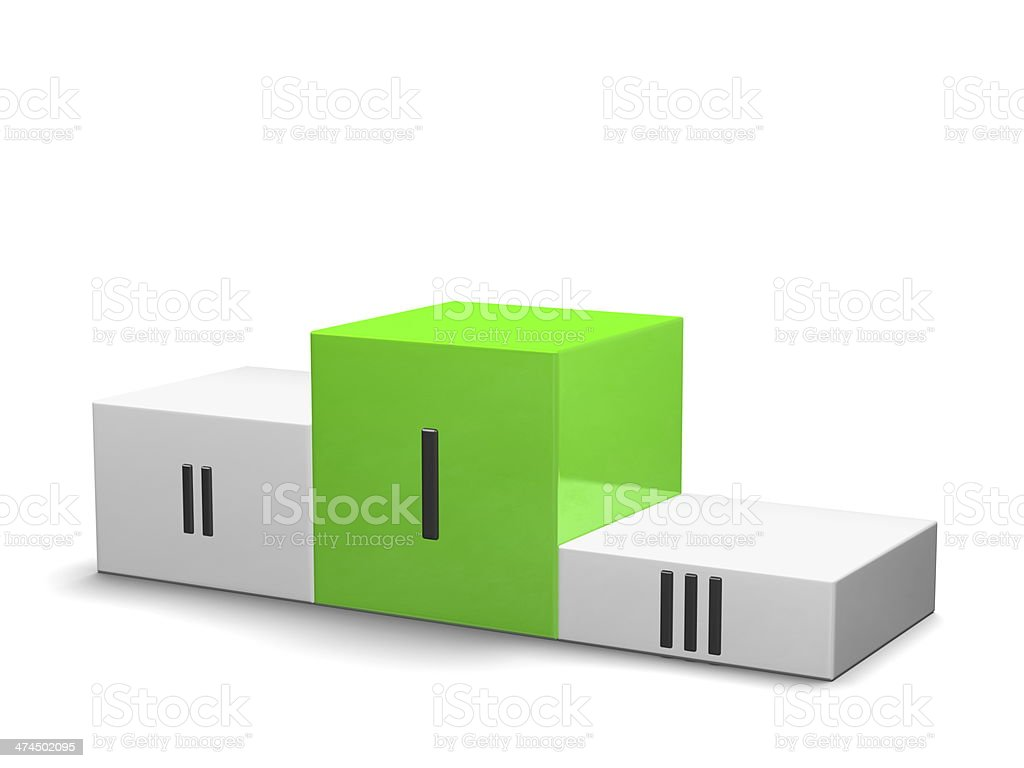 Sports victory podium, green cube for first place, Roman numerals royalty-free stock photo