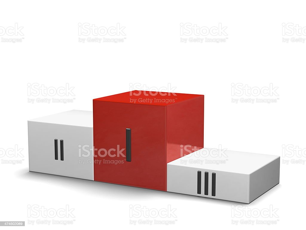 Sports victory podium, red cube for first place, Roman numerals royalty-free stock photo