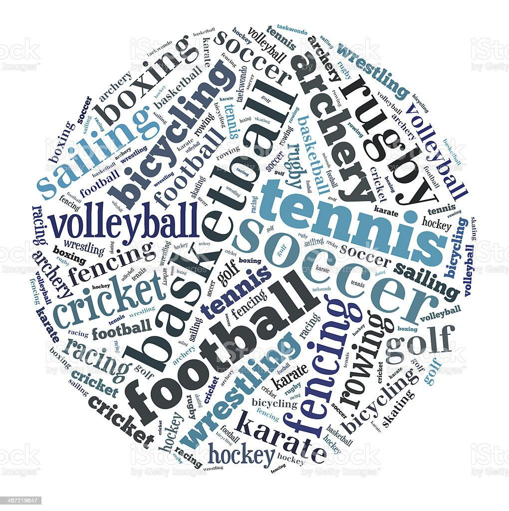 Sports word cloud royalty-free stock photo