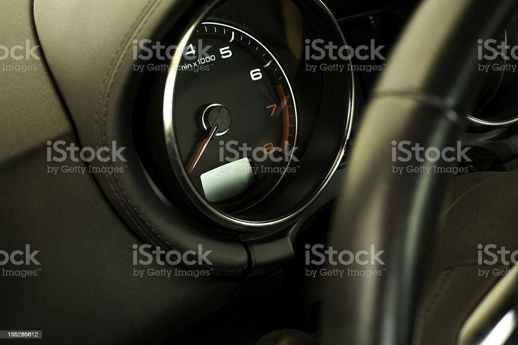 Sportscar tachometer/ close up stock photo
