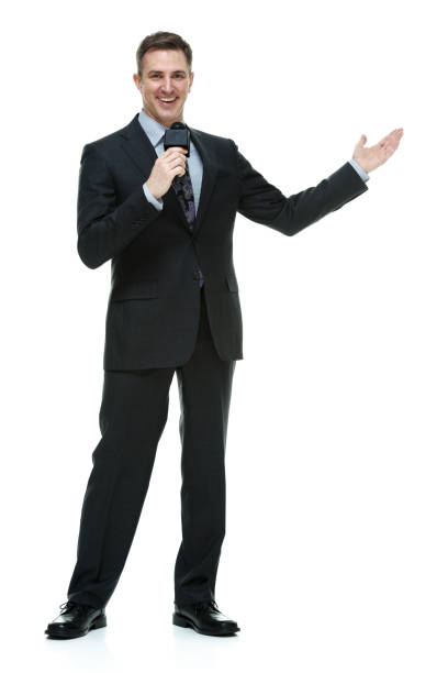 Sportscaster talking with microphone Businessman presenter stock pictures, royalty-free photos & images