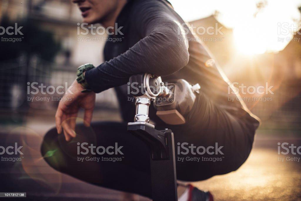 Sportsman disability guy stock photo