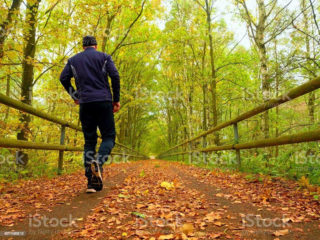 Sportsman in  black sortswear run on road covered,  autumn leaves. Lizenzfreies stock-foto