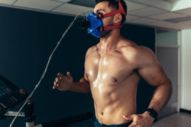 Sportsman in sports science lab stock photo