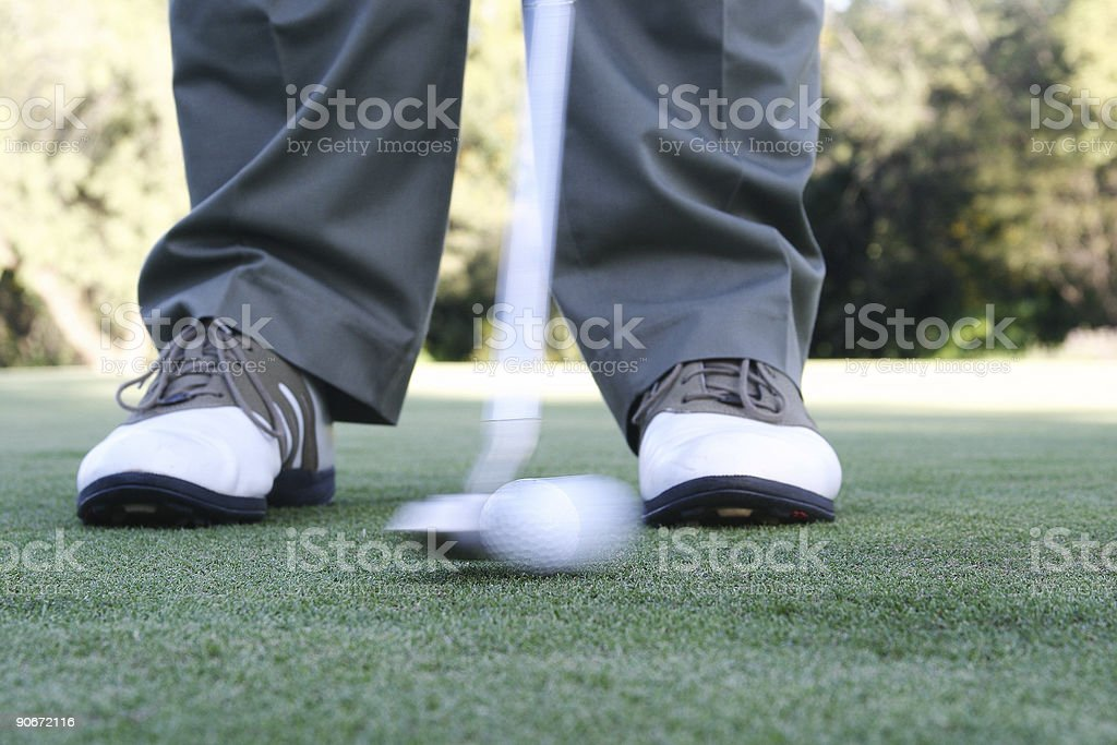 Sportsman putting a golf ball on the green royalty-free stock photo