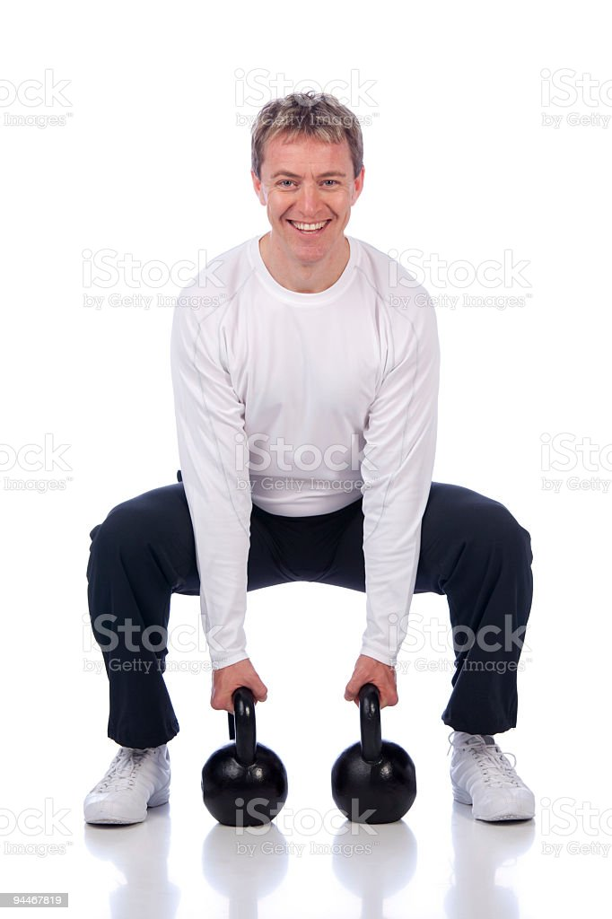 sportsman training with heavy weights royalty-free stock photo