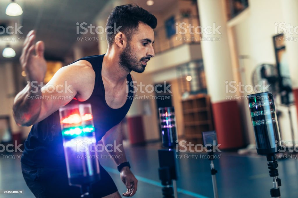 Sportsman using a visual stimulus system stock photo