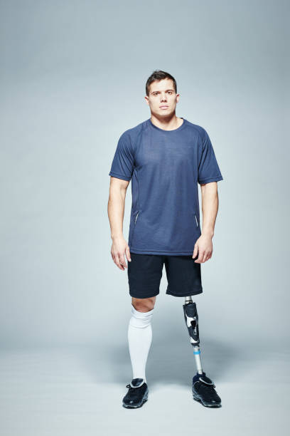 Sportsman with artificial leg stock photo