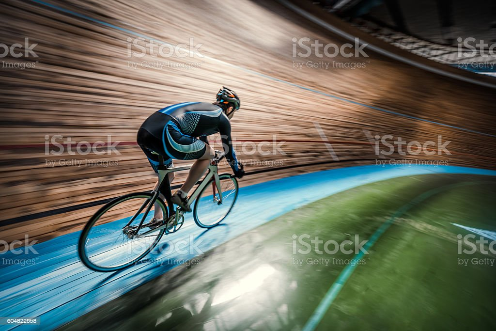 Sportsman with cycle stock photo