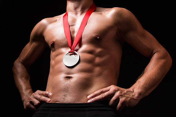 Sportsman with medal on his chest stock photo