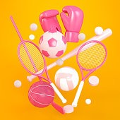 Sports-themed Pink 3D Icons Over a Orange Background