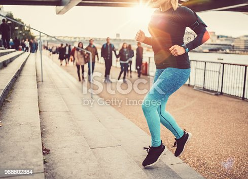 Young woman sports training in the city