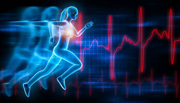 Sportswoman or sporty woman running fast with futuristic hologram effect and ekg curves. Sport, run, health, fitness, workout, medical, science, 3d rendering illustration. stock photo