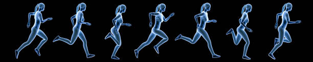 Sportswoman running sequence movements isolated on a black background. Hologram 3d render banner illustration. Sport, fitness, health, human biomechanics concepts. stock photo