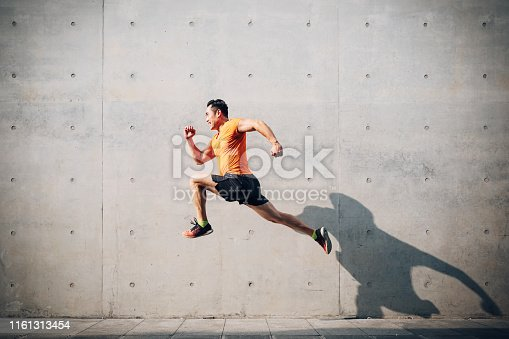 Men, Running, Jumping, Asian and Indian Ethnicities, East Asian Ethnicity, Mid Adult