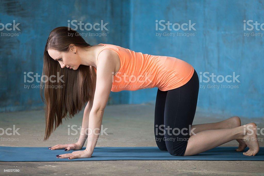 Sporty beautiful young woman doing bharmanasana stock photo