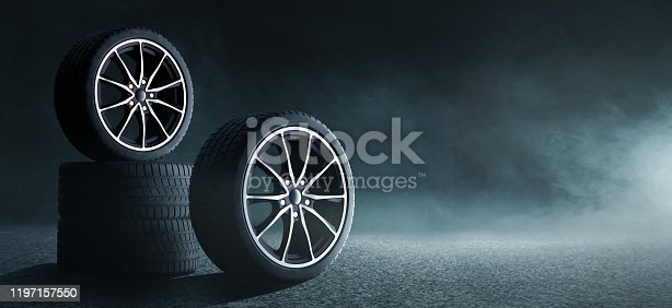 sporty car tires on a street