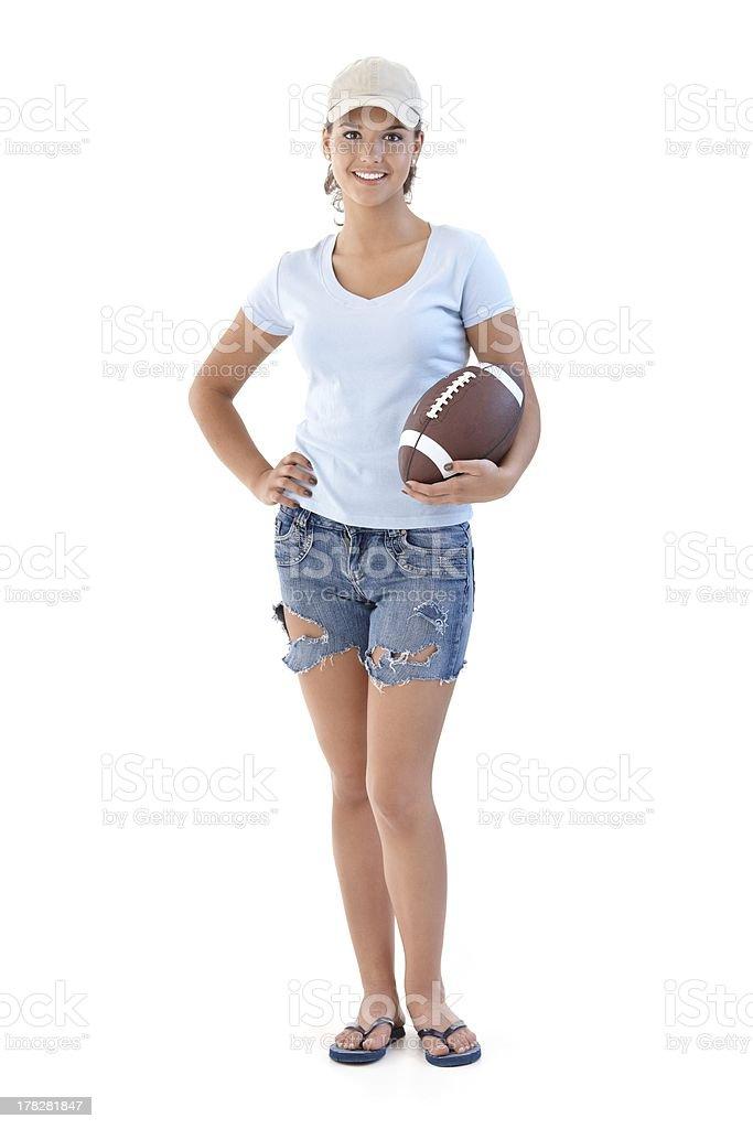Sportliche Mädchen mit American football Lächeln – Foto