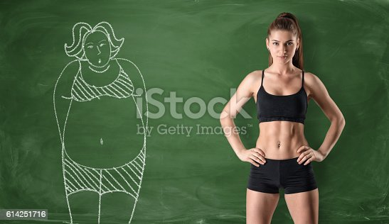 istock Sporty girl with slim body and picture of fat woman 614251716