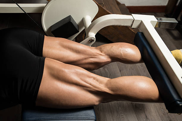 Sporty Legs Hamstrings Bodybuilder Doing Heavy Weight Exercise For Legs Hamstrings hamstring stock pictures, royalty-free photos & images