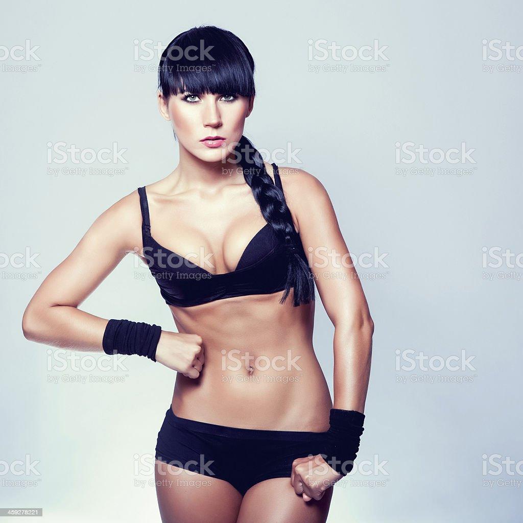 sporty muscular woman stock photo